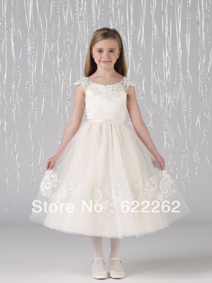 Wonderful 2013 a line jewel short sleeve tea length ivory organza lace new arrival flower girl dresses for wedding $84.95