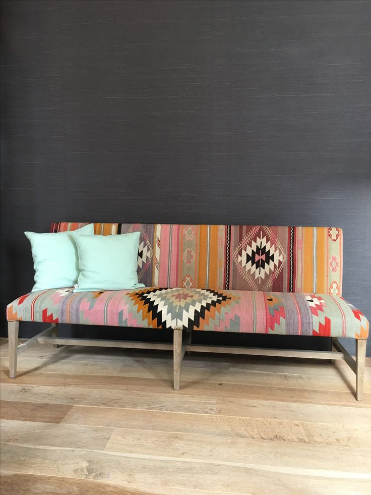 Bench with vintage kilim rug