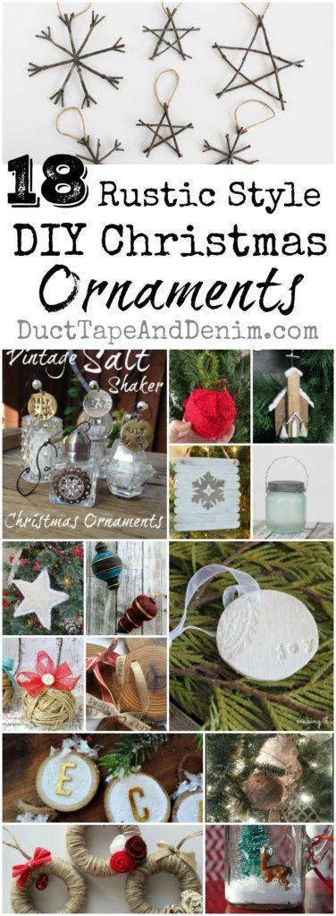 18 Rustic DIY Christmas ornaments. Tutorials, ornament ideas on DuctTapeAndDenim.com