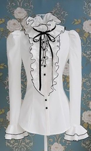 Victoria: Womens vintage modest long sleeve blouse with high ruffle neck, ribbon neck tie and ruffled accented finish. - Apostolic Clothing
