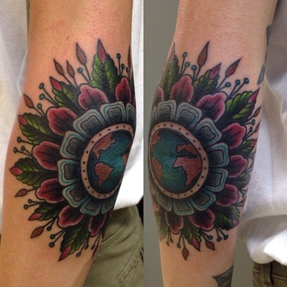 Beautiful elbow tattoo by Marina Goncharova...
