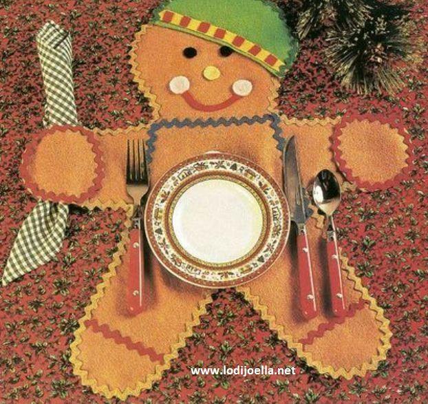 Ideas para hacer manualidades navideñas un lindo individual con forma de galleta de gengibre                                                                                                                                                                                 Más