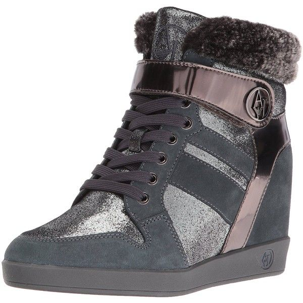 Armani Jeans Women's Jeans Faux Fur Wedge Fashion Sneaker ($173) ❤ liked on Polyvore featuring shoes, sneakers, wedge sneakers, laced up shoes, laced sneakers, wedge trainers and studded lace-up wedge sneakers
