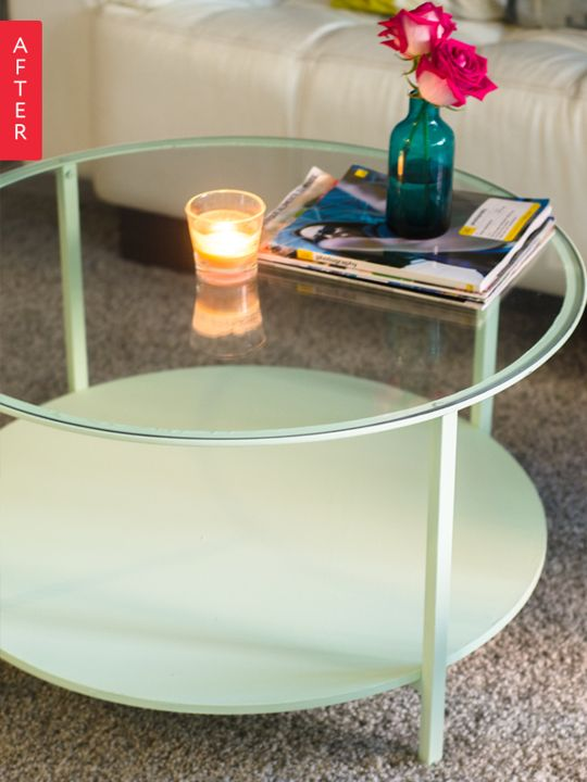 "Before & After: IKEA VITTSJO Coffee Table ($50) is Mint to Be ... ""I sanded it down with a rough grit sandpaper sponge ($8.00). After it was sanded I painted it with Glidden's ""Early Frost"" (light mint green) matte finish, $21.00."""