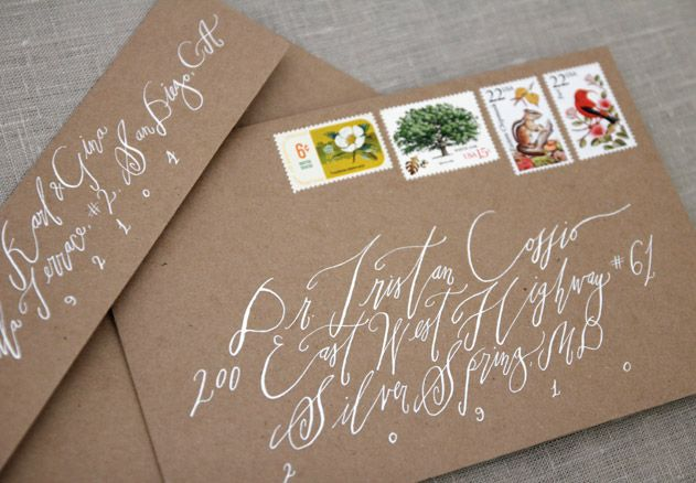 Wedding Invitations calligraphy. I love the brown with white writing!
