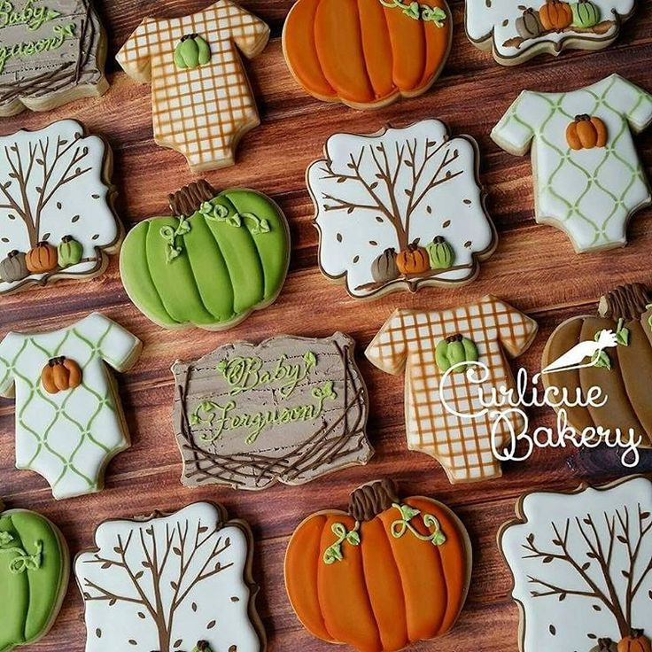 Super Cute Fall Baby Shower Cookies-decorated sugar cookies with royal icing
