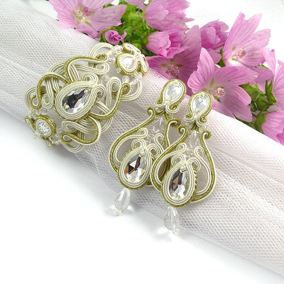 Soutache earings WEDDING JEWELRY bridal soutache by byPiLLowDesign