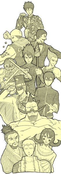 One Punch Man: Sneck, Golden Ball, Spring Mustache, Lightning Genji, Stinger, Lightning Max, Magic Trick Man, Blue Fire, Heavy Tank Fundoshi, Bushidrill, Iaian, Okamaitachi