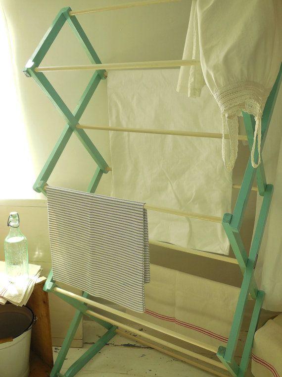 Large folding vintage washing airer