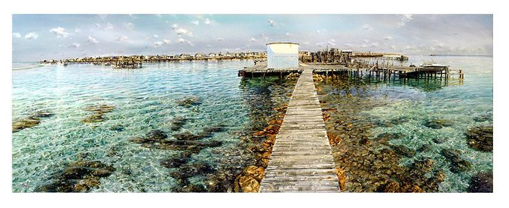 Artwork painting jetty shallow waters aqua - Larry Mitchell - Big Rat Abrolhos