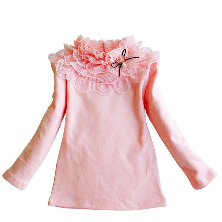 Niñas Tocando Fondo Camisa de La Blusa de Primavera Otoño Ropa de Los Niños de Algodón de manga larga Básica T-shirt Estudiante Girls Lace Tops DQ530
