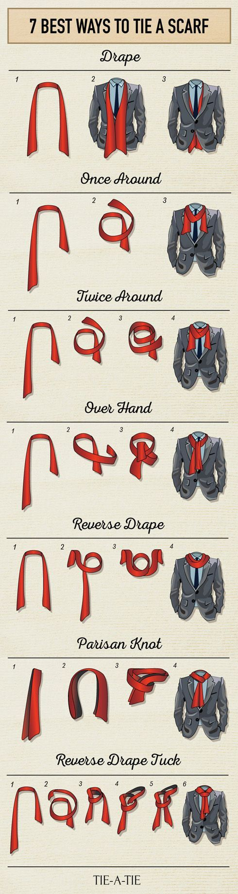 7 Best Ways to Tie a Scarf for Men Check more at http://dummiesoftheyear.com/7-best-ways-to-tie-a-scarf-for-men/