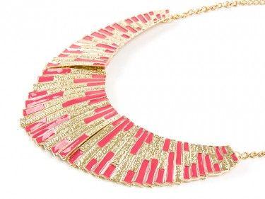 Złoty naszyjnik z różowym dyskiem Sprawdź więcej na www.carlena.pl