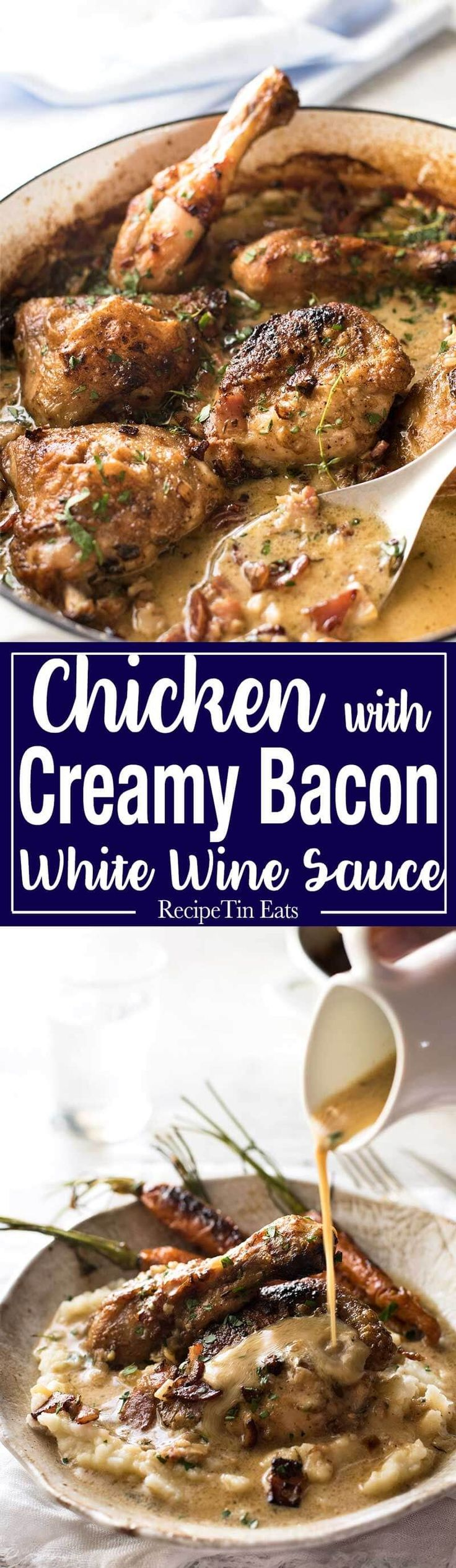 Chicken with Creamy White Wine Sauce and Bacon - So easy to prepare, then just let it braise in the oven until the chicken is tender. The sauce is incredible! www.recipetineats.com