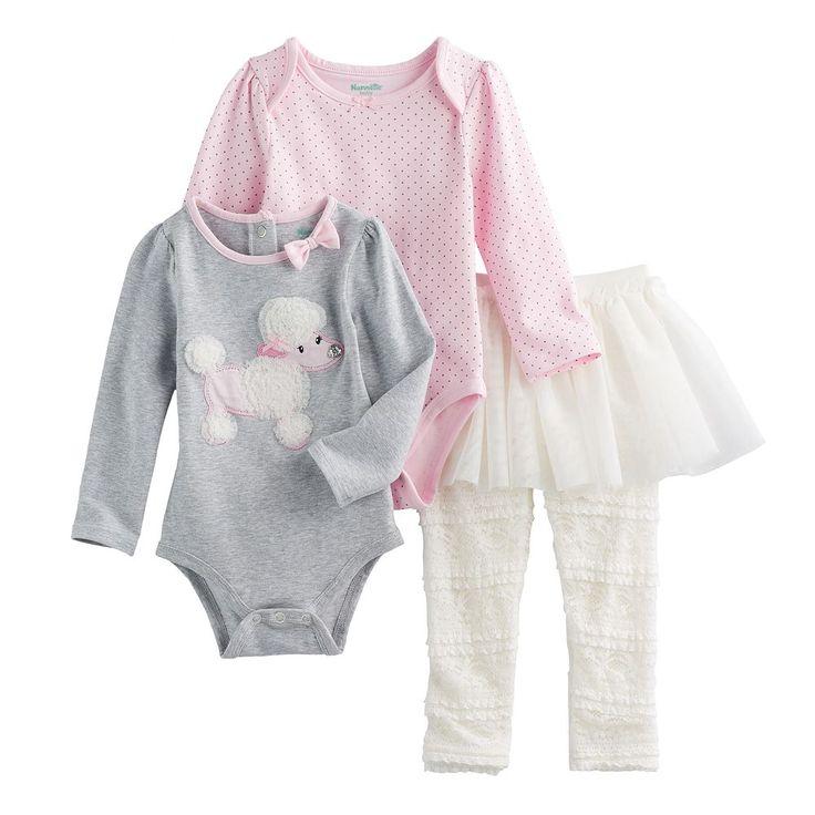 Baby Girl Nannette Poodle & Polka-Dot Bodysuits & Lace Skirt Leggings Set, Size: 18 Months, Grey