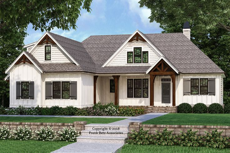This farmhouse design floor plan is 2187 sq ft and has 3