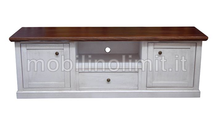 Porta tv 2 ante 1 cassetto bianco decapato l 45 cm x p 160 cm x h 56 cm mobile in legno - Mobili decapati ...