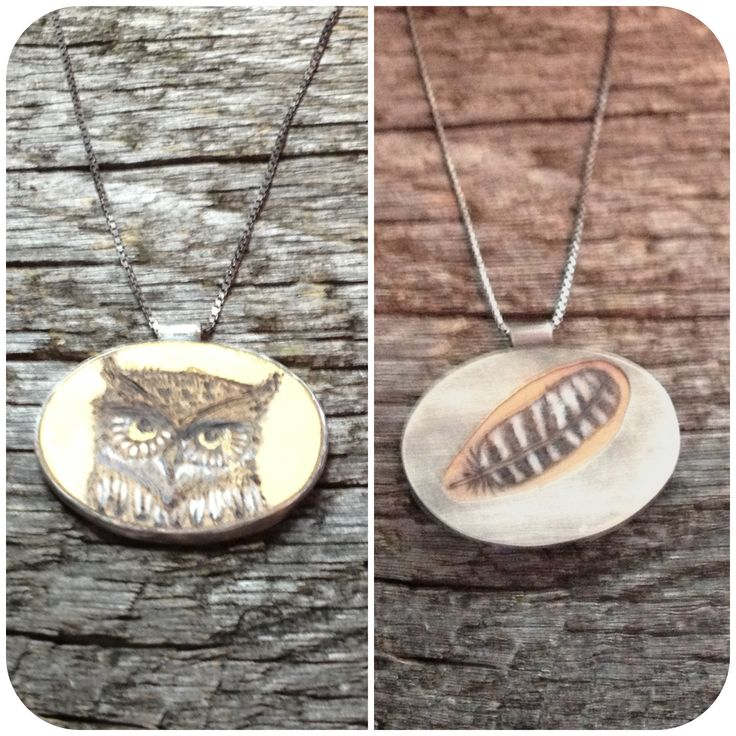 #handdrawn image #woodburned, #painted and set in #sterling silver - a one of a kind #reversible #wearable piece of art. #bird #owl #jenneajewelry