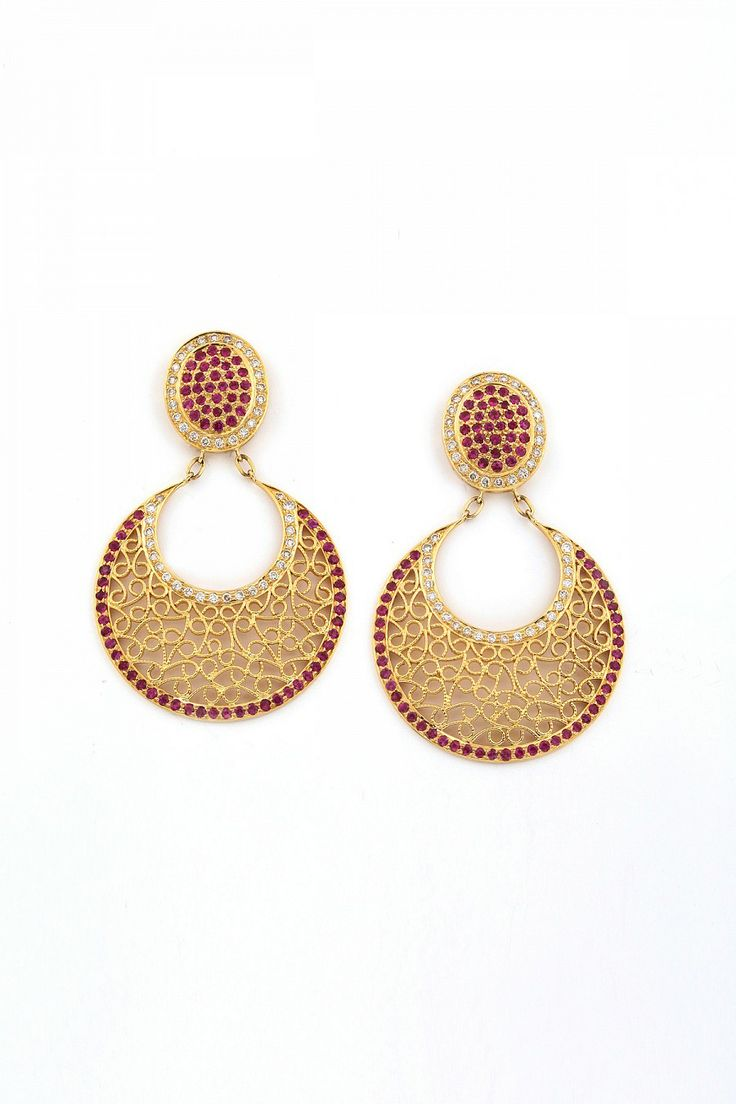 Ruby chand earrings