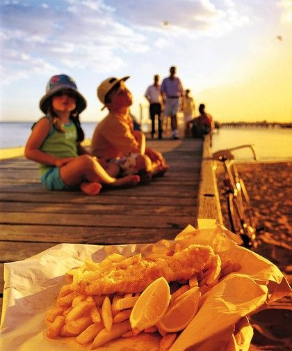The pleasures of fish and chips, sea and sun and Sydney Harbour.