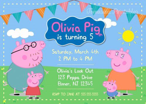 Peppa Pig Invitation Printable Peppa Pig Birthday Party Invite | TomasinaPrintables -  on ArtFire