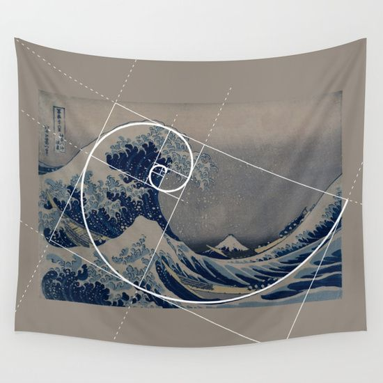 """The Great Wave"" by Hokusai, the perfect example of Fibonacci spiral, golden ratio being a ""Fibonacci code"" for art, science and math. Fascinating artists and scientists for centuries.<br/> fibonacci numbers..."