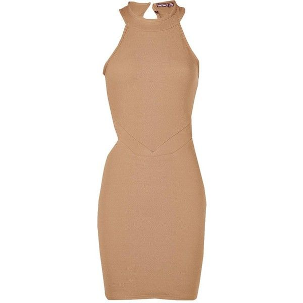Boohoo Petite Ruby Cut Out High Neck Bodycon Dress | Boohoo ($10) ❤ liked on Polyvore featuring dresses, beige dress, beige bodycon dress, petite dresses, beige cocktail dress and boohoo dresses