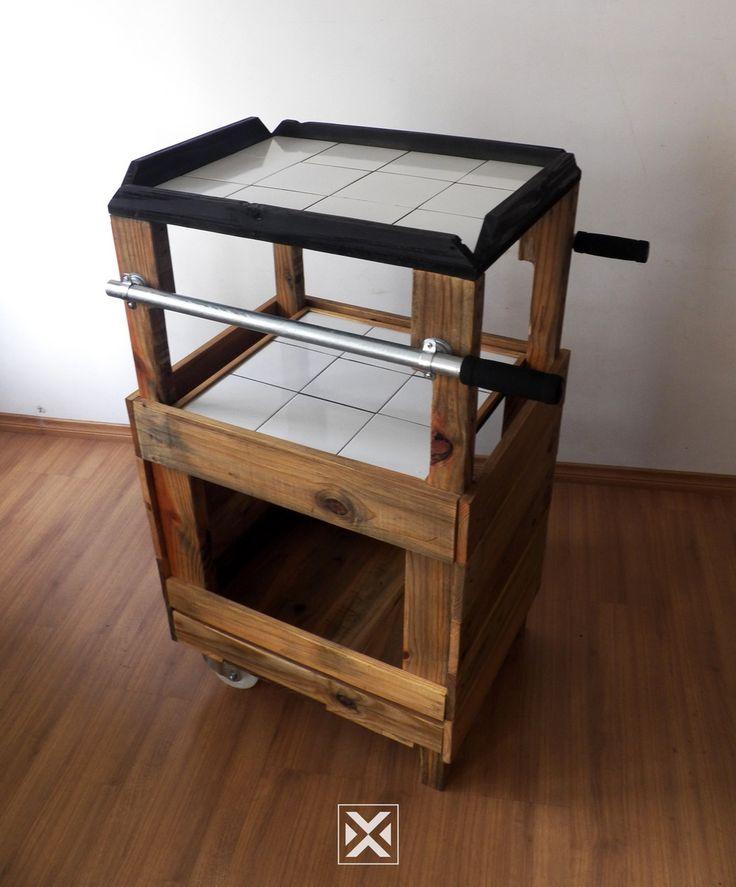 Bar portátil com rodas e 3 andares