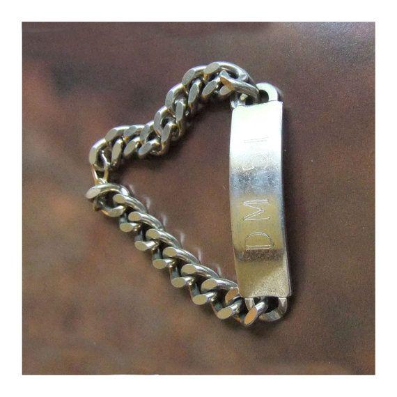 Vintage Spiegel ID Bracelet 7 Fixed Heavy Curb Chain