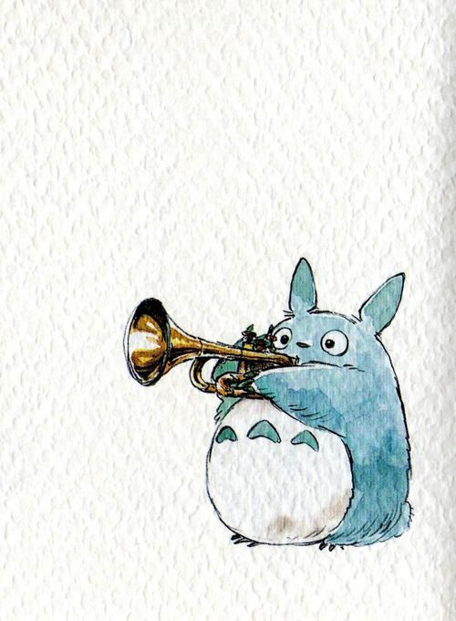 Totoro playing trumpet  Such a cute use of watercolour