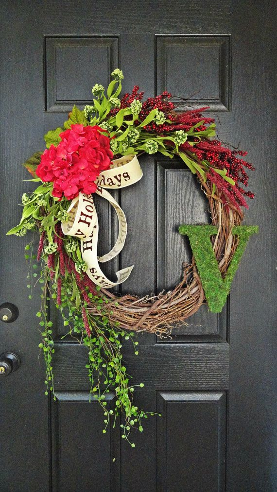 "The ""Grand"" Christmas Wreath,  Extra Large, Intricate Designed, Wreath in Red and Green, French Country Wreath, Moss, Burlap and Hydrangeas"