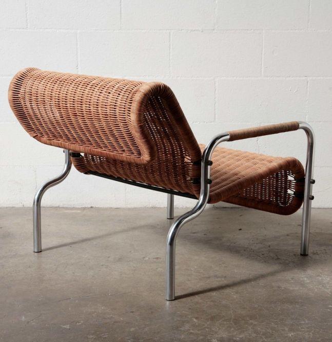 martin visser chromed metal and rattan lounge chair 1960s