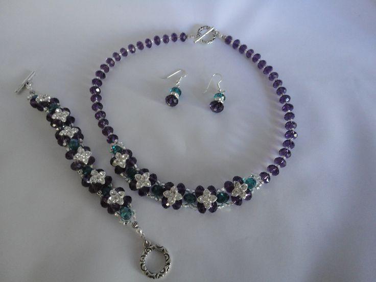 Blue and purple crystal flower necklace, bracelet & earring set
