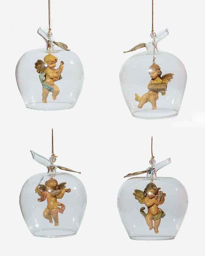 Assortimento 4 ornamenti in vetro soffiato da appendere (V6) cm.11 - Ornamenti natalizi - Fontanini Presepi