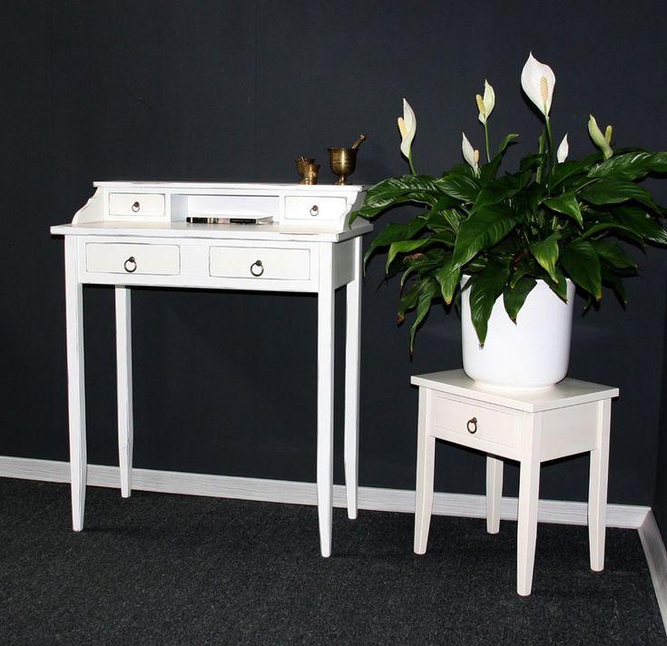 Massivholz Sekretär Schreibtisch PC-Tisch Schminktisch weiß shabby