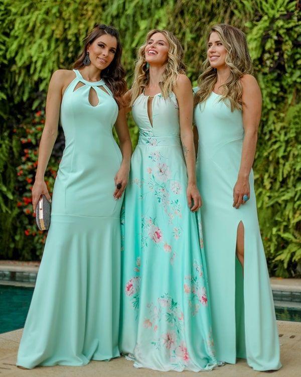 damas de honra vestido de noiva verde claro   – delicias