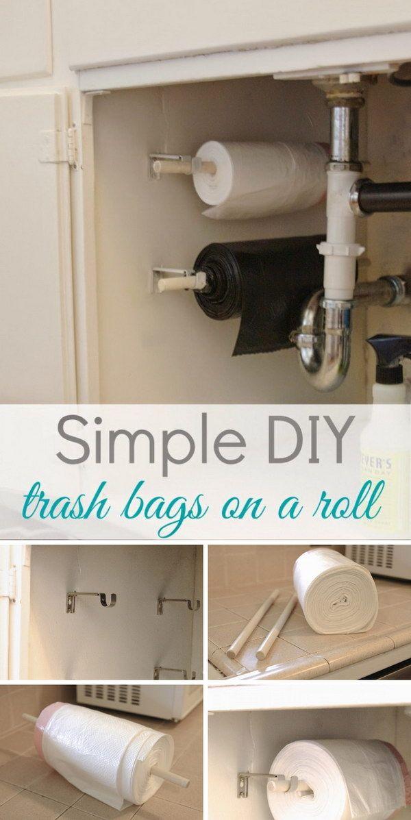 Simple DIY: Trash Bags On A Roll.