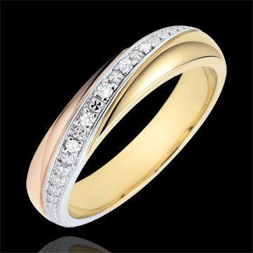 Trauring Saturn - Trilogie - Dreierlei Gold und Diamanten - 18 Karat : Edenly-Schmuck