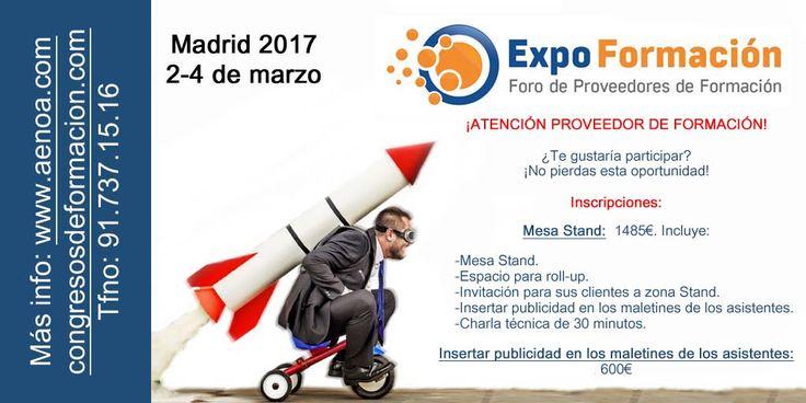 ¡ATENCIÓN! Proveedor de #Formación, ¡participar en #Expoformación tiene grandes ventajas!  #somosformacion http://www.congresosdeformacion.com/proveedores/
