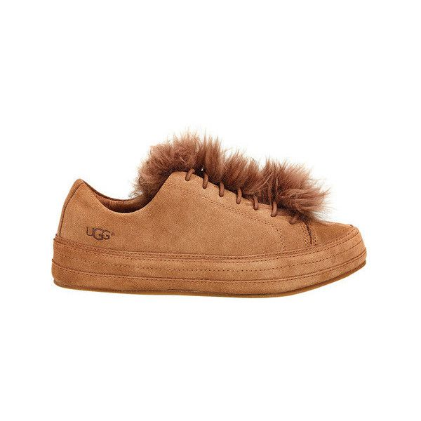 Women's UGG Blake Fur Sneaker ($75) ❤ liked on Polyvore featuring shoes, sneakers, brown, casual, flat pumps, evening flats, brown flats, ugg shoes and brown flat shoes