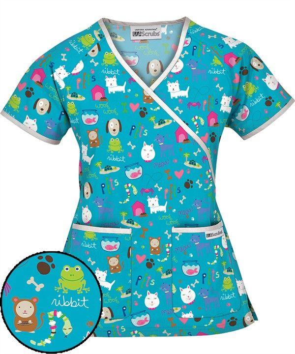 WT66HPT UA Women's Happy Pets Turquoise Mock Wrap Scrub Top $12.99 http://www.uniformadvantage.com/pages/prod/happy-pets-scrub-top.asp