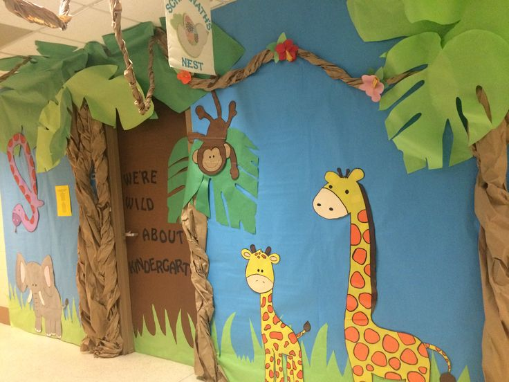 Africa themed kindergarten door decoration. Classroom door