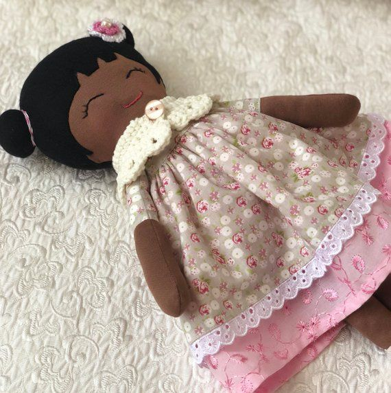 Black skin rag doll, baby first soft toy, toddlers toys, black cloth doll, gift for baby girls, black skin fabric doll, handmade rag doll