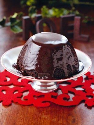 CHRISTMAS CHOCOLATE PUDDING  WITH HOT CHOCOLATE SAUCE