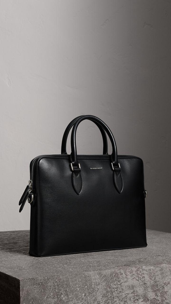 db92fa04c289 The Slim Barrow in London Leather in Black - Men