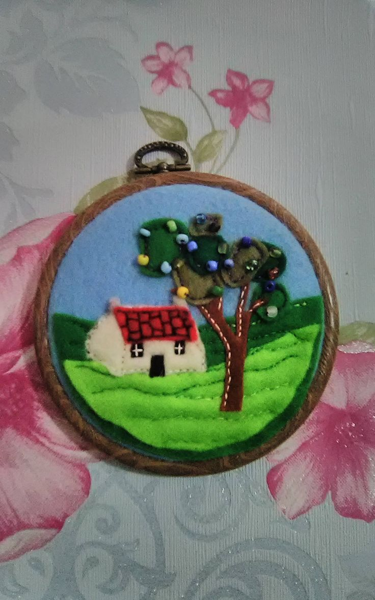 Embroidery Hoop Art Felt Embroidered Picture Beaded House Cottage Country Countryside Scene by TeenyTinyPocketWorld on Etsy