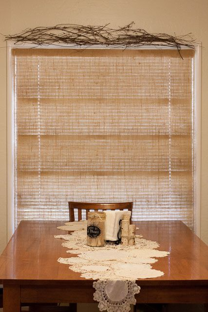 I love the look of burlap, I hate the look of mini blinds. Finally, I figured out how to solve both problems at once.A burlap roman shade to cover the mini blinds.
