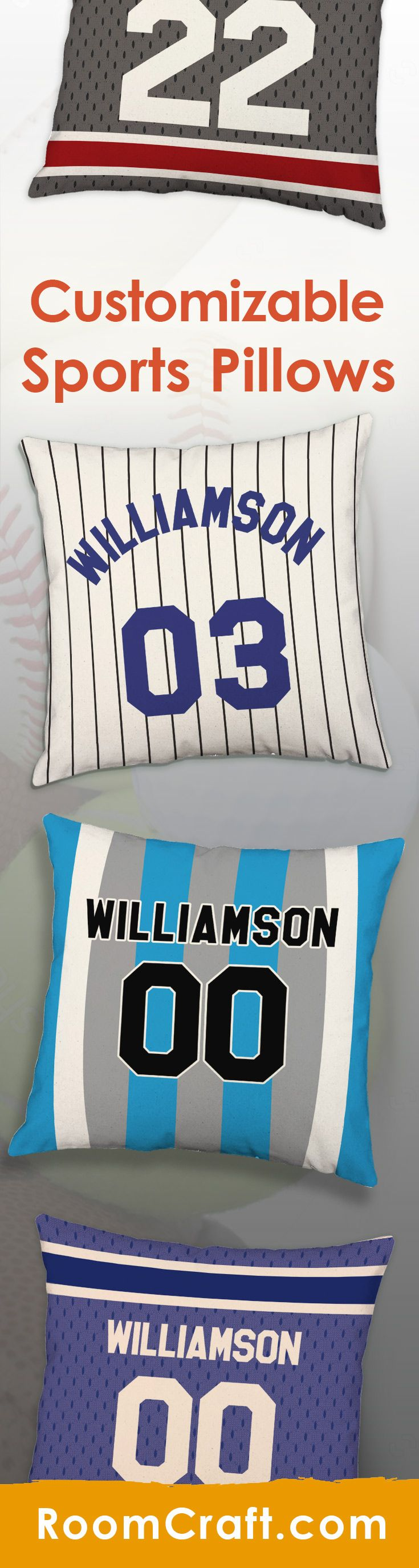 These personalizable sports jersey throw pillows are the perfect accent to make your sport lover's room complete. Each one is offered in multiple colors, sizes and fabrics making decorating fun and easy. These team jersey pillow cover sets are made to order in the USA and feature 3 wooden buttons on the back for closure. Choose your favorite and create a truly unique pillow set that will bring the beach right to your home! #roomcraft