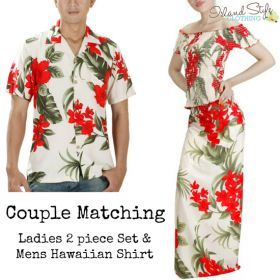 Cream & Red Leaf Matching Set Hawaiian Party Clothing Luau