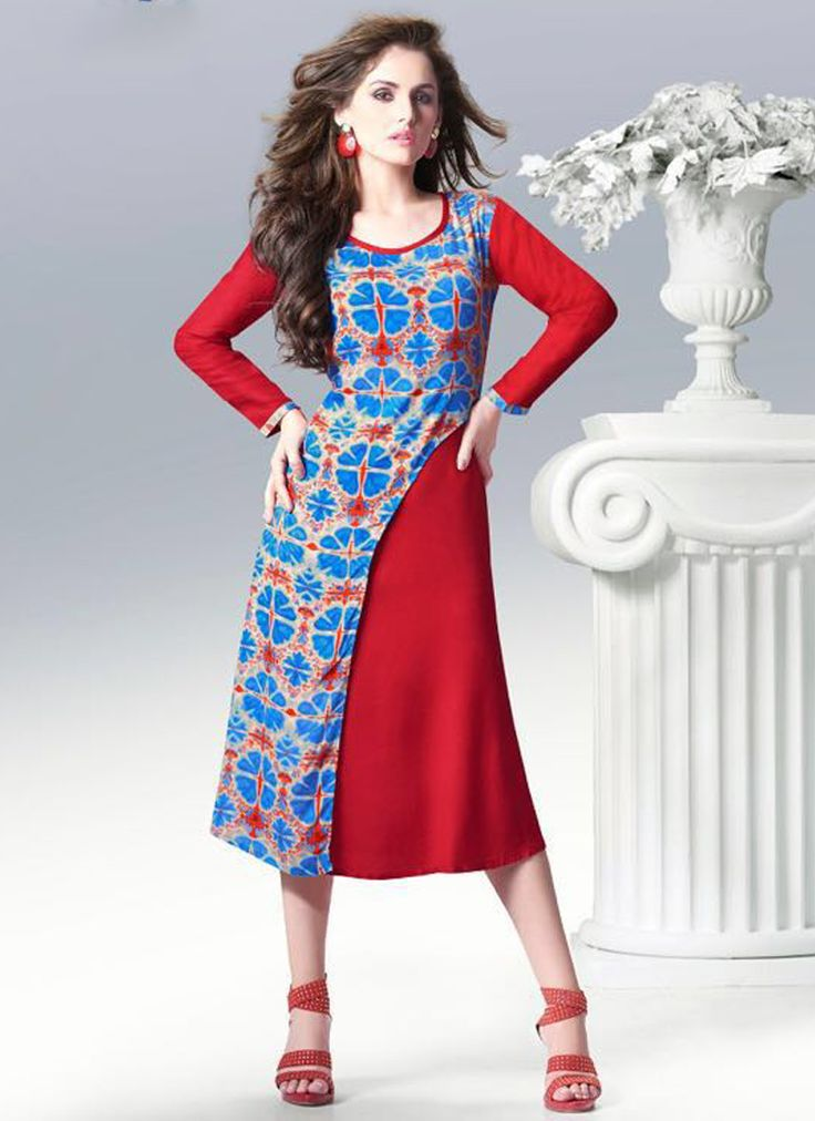 Blue Rayon Party Wear Printed Kurti #Kurti #Redcolor